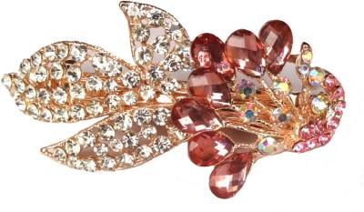 Shreya Collection Fashion Pink & White Stone Studded Metal Hair Clip Back Pin