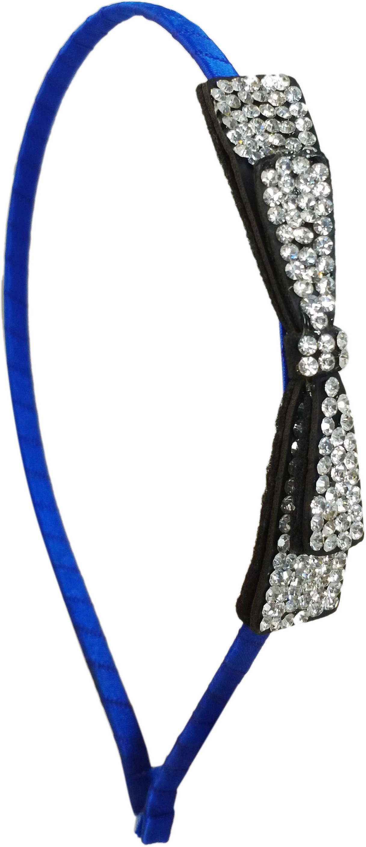 Ammvi Creations CZ Embellished Long Bow Charm Indigo Sleek for Women Hair Band(Blue)