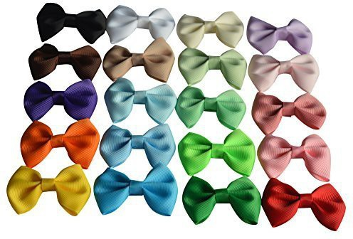 "Bzybel Baby Girls Boutique Grosgrain Ribbon Hair Bow Clips 2.5"" Newborn Small Hairbows With Alligator Clips Pack Of 20pcs Hair Clip(Multicolor)"