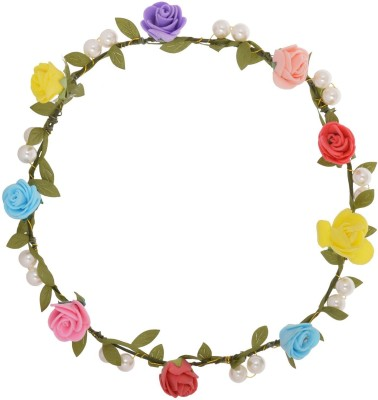 Sanjog Flower And Pearl Tiara For Women/Girls Head Band