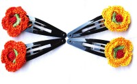 moKanc Tic Tac Clips with Crochet Motifs Hair Clip(Yellow, Orange)