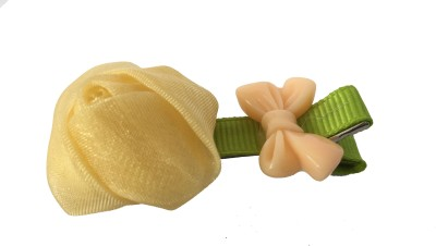 Bellazaara Silk Yarn Rosebuds Bowknot Children Hairpin/clip :Deep Yellow Hair Accessory Set