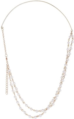 Fayon Contemporary Statement Graceful White Pearl with Golden Center Wire Hair Chain