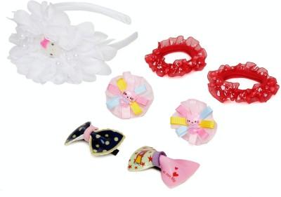 Samyak White Floral Hair Band, Hair Pin, Tic Tac Clip, Rubber Band