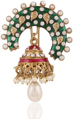 I Jewels Meeenakari & Pearl With Jhumka Hair Pin