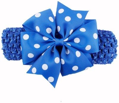 Bellazaara BELLAZAARA Baby Girl Light Blue Polka Dot Bowknot on wide Crochet Headband Head Band
