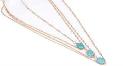 Creative India Exports Multi strand Turquoise Hair Chain(Gold)