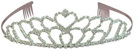 Generic (Ship From USA) Double Heart Bridal Wedding Tiara Crystals Rhinestones Crown Promo Party T1070 Hair Accessory Set(Multicolor)