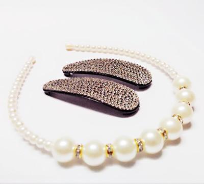 Samyak Pearl Hairband And Studded Hairclip Hair Accessory Set