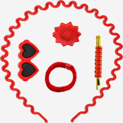 Angel Glitter Red Hearts Combo Hair Accessory Set