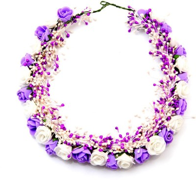 Sanjog Mesmerizing And Gorgeous Flower Tiara Head Band(Purple, White)