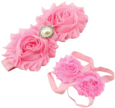 AkinosKIDS Newborn Flower and Pearl girl Barefoot Sandal shoe set Hair Accessory Set(Pink)