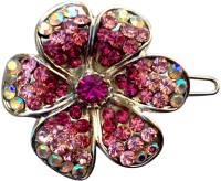B-Fashionable Blooming Flower Wire Clasp Hair Pin(Pink)