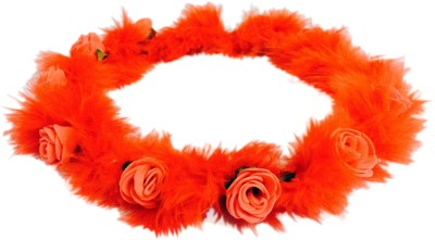 Loops n knots Red Feather Baby Floral Tiara/Crown -Hair Accessory for kids With No or Less Hair Head Band
