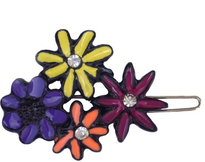 B-Fashionable Four Flower Multi Colour Wire Clasp Hair Pin