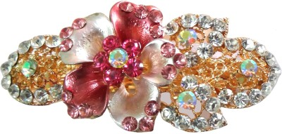 Shreya Collection Fashion Pink and White Colour Stone Studded Hair Clip Back Pin