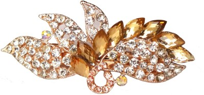 Shreya Collection Fancy Yellow & White Stone Studded Metal Hair Clip Back Pin