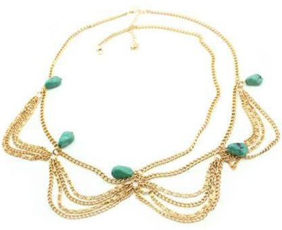 Young & Forever Bohemian Fringed Turquoise Stones Multilayer Tassel Gear Hair Chain(Gold, Blue)