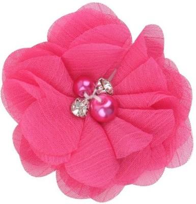 Bellazaara BELLAZAARA Baby Girls Mini Tulle Mesh Fushia PinkChiffon Flowers Hairclips with Rhinestone Pearl Center Hair Clip