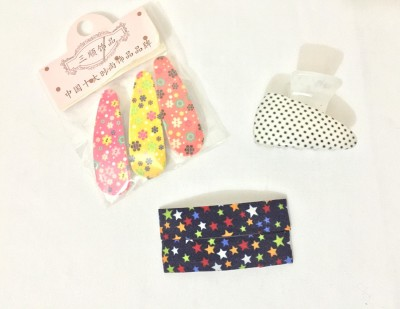 Ecombasket Combo of 6 Printed Cloth Hair Clip, Tic Tac Clip, Hair Claw