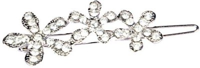 Jewel Touch Silver Finish Floral Hair Clip