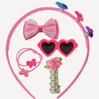 Angel Glitter Pink Hearts And Pearls Combo Hair Accessory Set