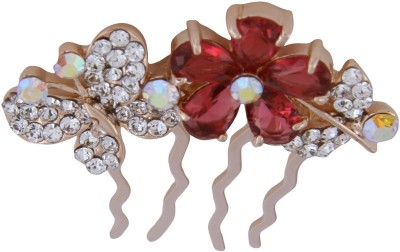 Pink Rose Bridal Butterfly Charm Hair Pin