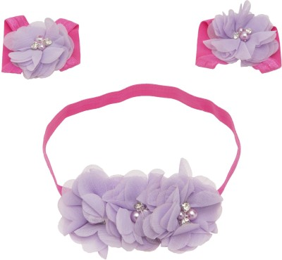 NeedyBee Infants to Baby Girls Flower Bunch Kids Baby Headband and Barefoot Sandal Hair Accessory Set