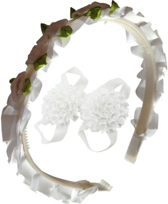 BabyZinnia Roses Flower Bunch Crown for Little Princess and satin flower kids Barefoot shoe set. Hair Accessory Set