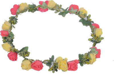 Sanjog Yellow and Dark Pink Flower Gracious Tiara Crown For Wedding Party Beach For Women Girls Head Band