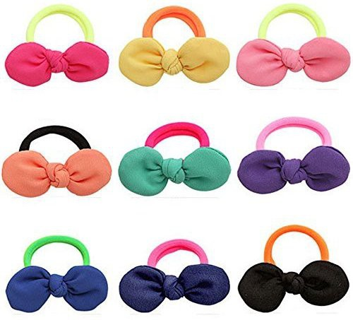 JM INNOVATION Cute Hair Ties J-MEE 3D Bows No Damage Hair Accessories Rubber Bands Hair Ribbons for Girls (9 Pairs) Rubber Band(Multicolor)