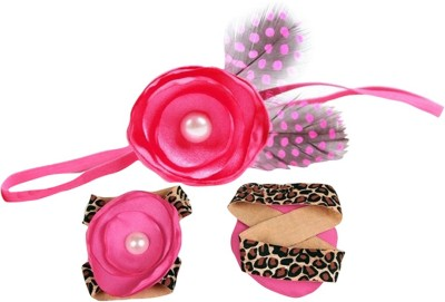 BabyZinnia Pearl Satin Leopard and feather Hair Accessory Set