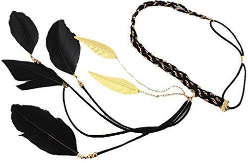 BONAMART BONAMART ? Women Boho Double Layer Feather Braided Headband Hair Band Chain Head Band(Multicolor)