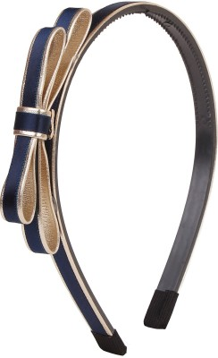 Fayon Fabulous Statement Blue Covered With Golden Bow Hair Band