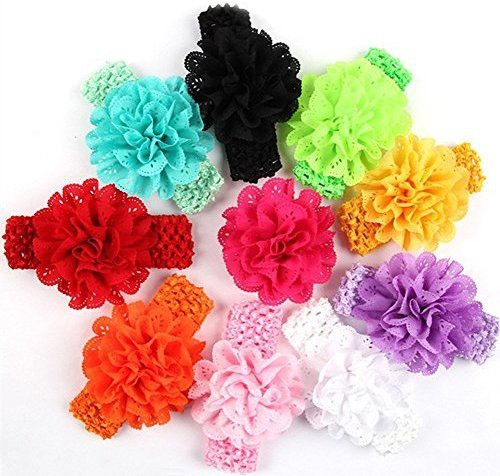"""Generic Qandsweet Baby Girls Headbands Chiffon Hair Flower (10pcs with 1.5"""" Band) Head Band(Multicolor)"""