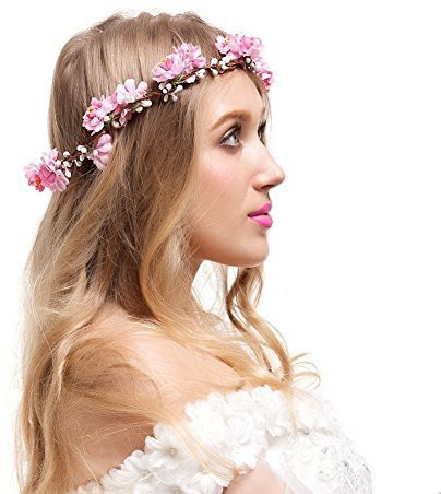 Valdler Adjustable Cherry Blossom Flower Crown for Wedding Festival Prom Pink Hair Pin(Pink)