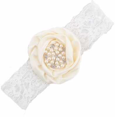 Bellazaara BELLAZAARA Baby Girls Christening Ivory Peach Satin Rolled Flower Headbands with Rhinestone Head Band