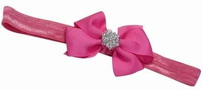 Pink & Blue India Newborn Soft Bow and Diamond Embellishment Head Band