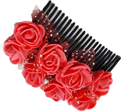 Blossom Red flower Gajra style comb Hair Clip
