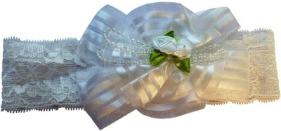 BabyZinnia Center bow roses and Pearl lace Head Band