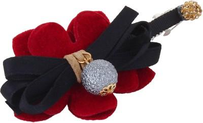 Fayon Fabulous Fashion Black Lace Bow Red Flower Hair Pin