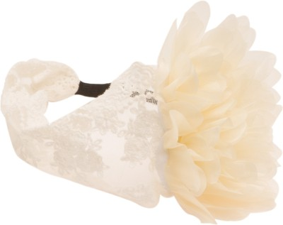 NeedyBee Soft Lace broad in crochet with creme Flowers stitched Head Band