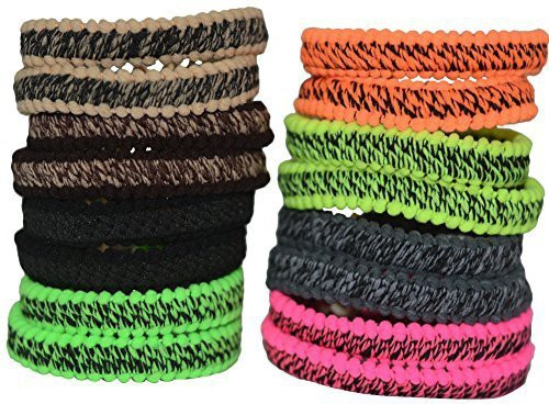 Bzybel Bzybel 16pcs Thick Solid Stretch No-damage Pony Elastics Ponytail Holders Hair Ties for Girls Women Ladies Hair Accessory Set(Multicolor)