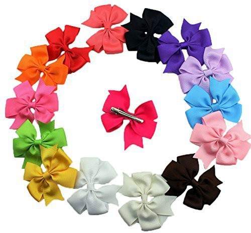 Bzybel Bzybel Boutique Girls Kids Pinwheel Hair Bows Clips Grosgrain Ribbon Barrettes, Hair Accessories 20 Colors Hair Clip(Multicolor)