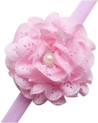 Bellazaara BELLAZAARA Baby Girl Light Pink Eyelet Flower Headband With Pearl Crystal Center Head Band