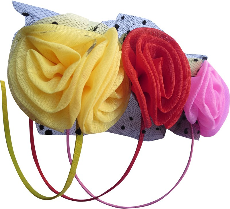 DCS Net Rose Flower Hat Fascinators Hairband/Headband For Girls Pack Of 3 (Yellow,Red Pink Colour) Hair Band(Multicolor)