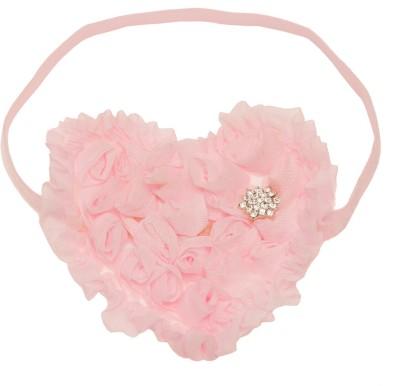 NeedyBee Newborn Pink Heart diamond rossette Flower Baby Glitter Elastic Head Band
