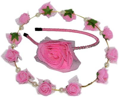 GD Pink Tiara with Pink Floral Hairband Hair Accessory Set