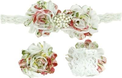 AkinosKIDS Shabby Flower Newborn Girl Diamond Pearl Hair Accessory Set(White)