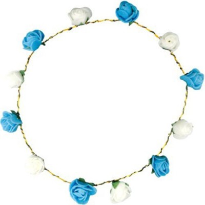 Pankh Blue and White Roses Tiara Head Band Hair Band